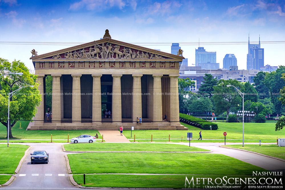 The Parthenon with the Nashville Skyline