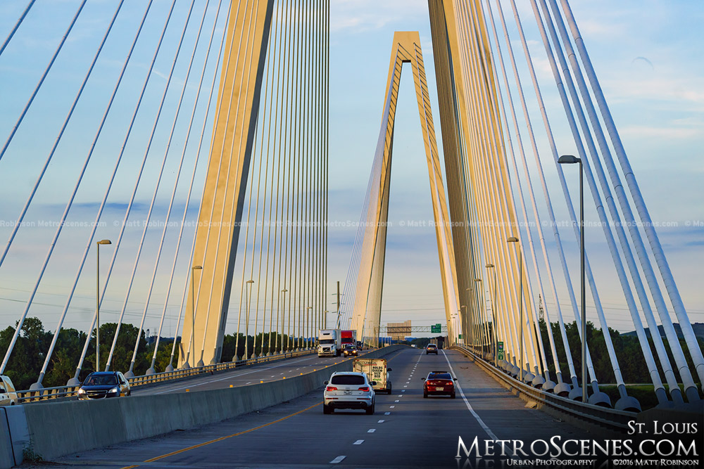 Crossing the Stan Musial Bridge in Saint Louis