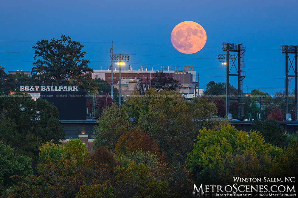 The Supermoon rises over BB&T Ballpark Winston-Salem