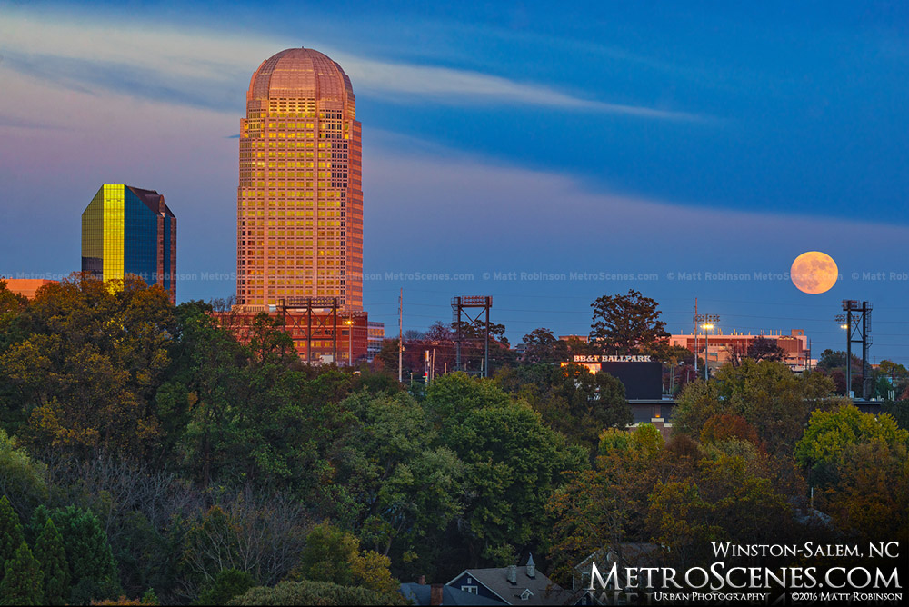 The Supermoon rises over downtown Winston-Salem