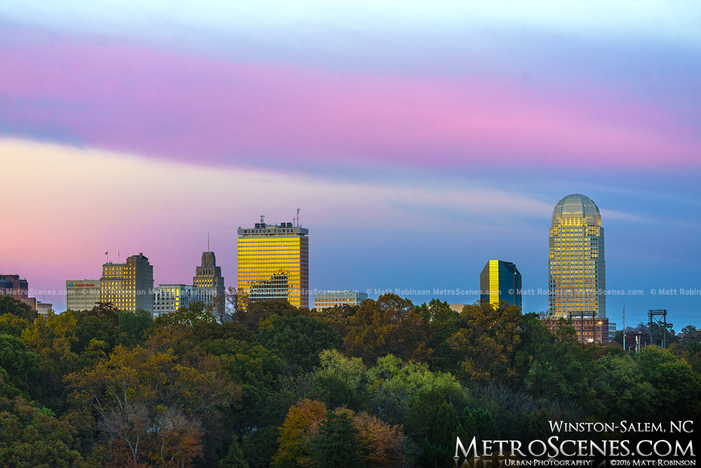 Winston-Salem Skyline sunset