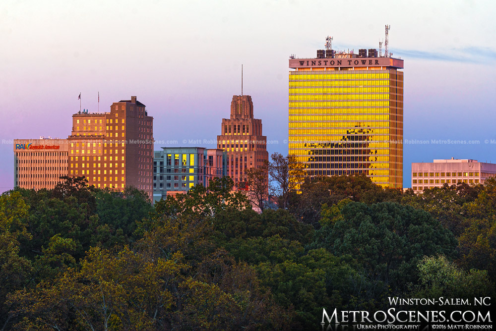 Winston Tower reflects golden sunlight in the Winston-Salem Skyline