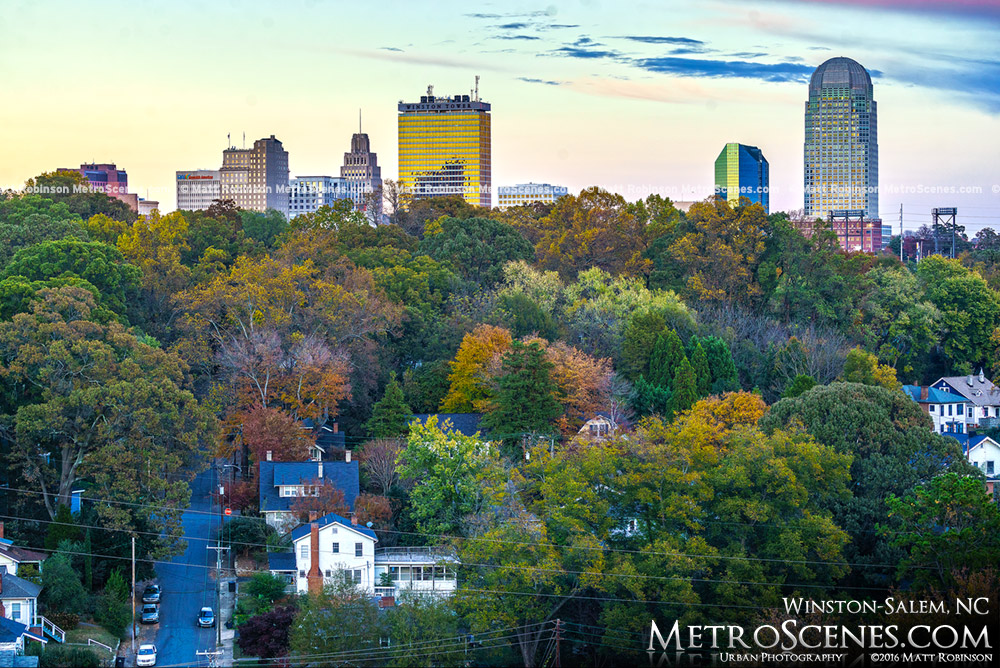 Fall Autumn Colors with the Winston-Salem Skyline
