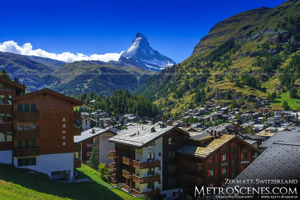 The Matterhorn rises above Zermatt