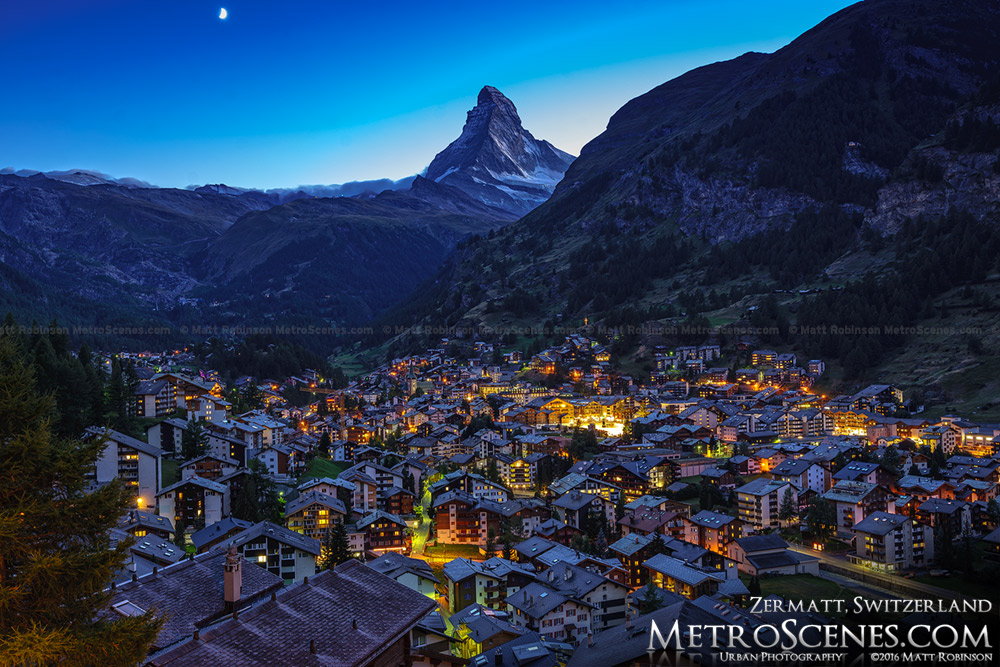 Moonset over the Matterhorn from Zermatt, Switzerland