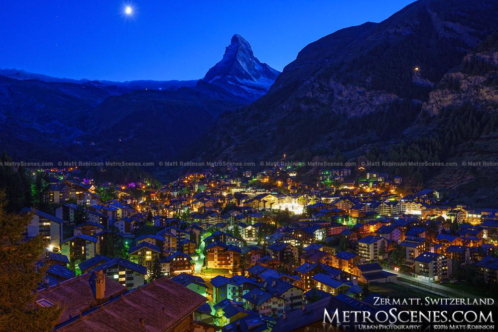 Moonset over the Matterhorn from Zermatt, Switzerland