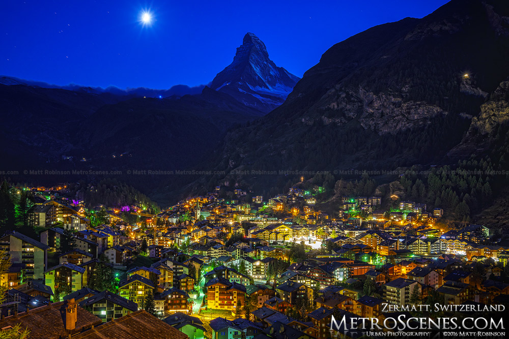 Zermatt, Switzerland at night