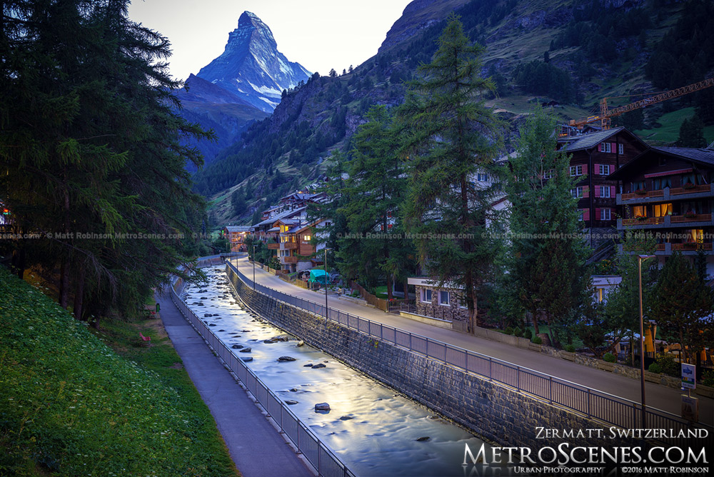 Vispa River at night in Zermatt