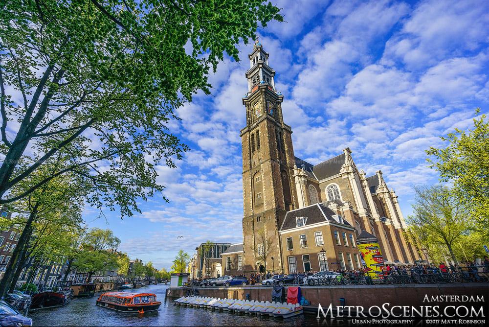 Westerkerk along Prinsengracht Amsterdam Canal