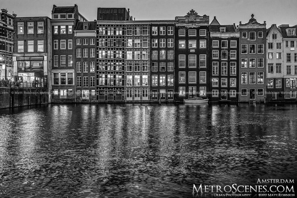 Black and White Amsterdam Canal Houses on Damrak