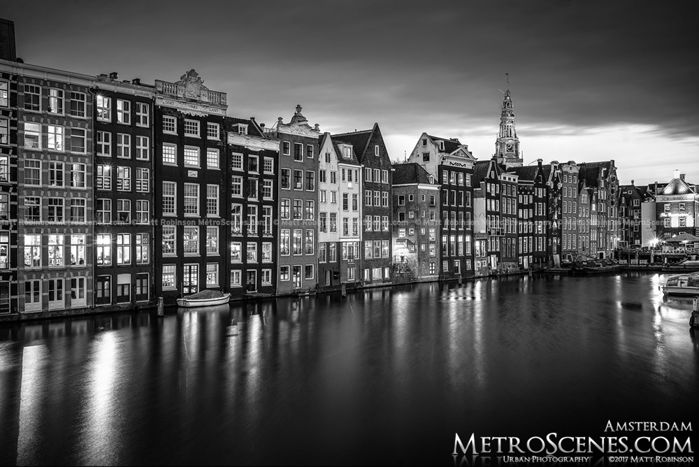 Amsterdam at night Black and White