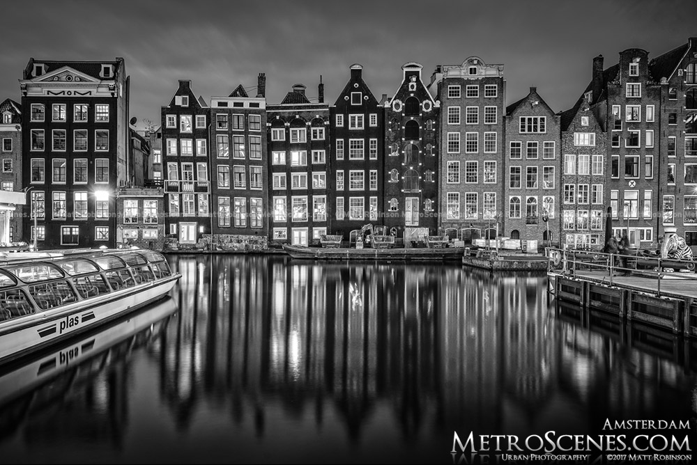 Black and White Reflections of Damrak Canal Houses