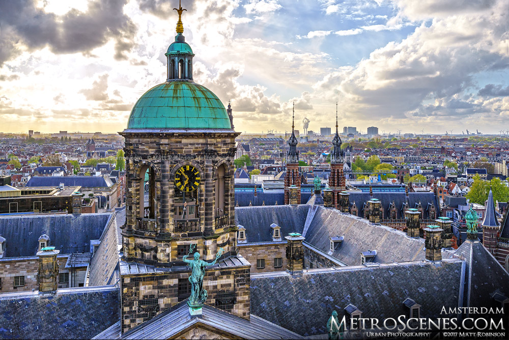 Royal Palace Amsterdam Clock Tower Aerial