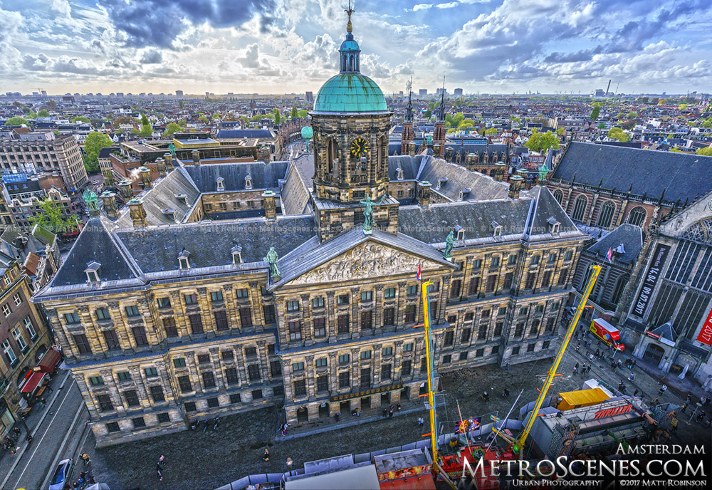 Aerial of Royal Palace Amsterdam