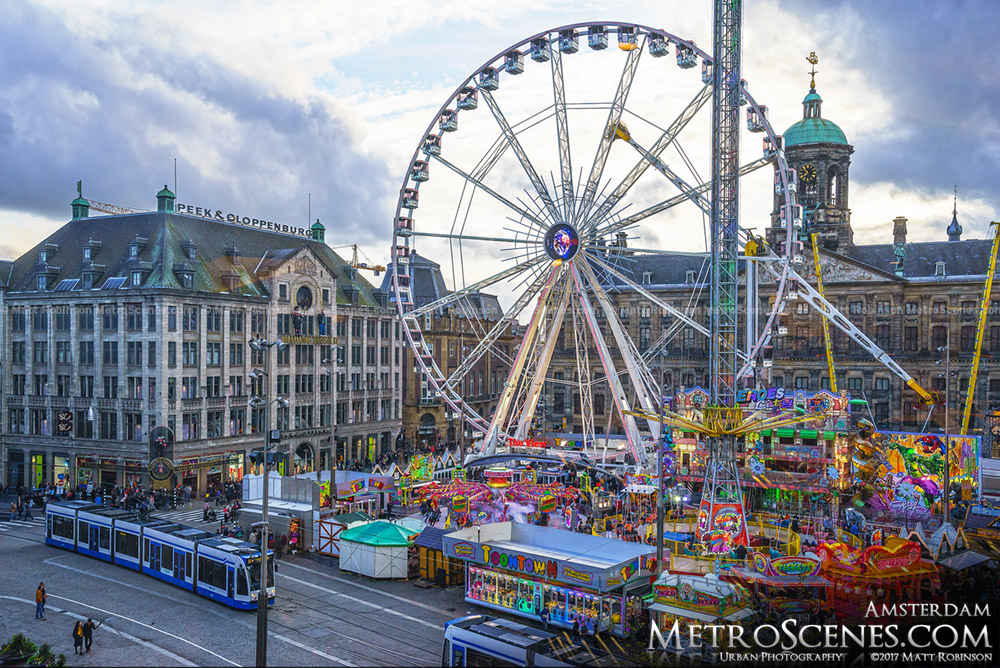 2017 Amsterdam funfair with Ferris Wheel in Dam Sqaure