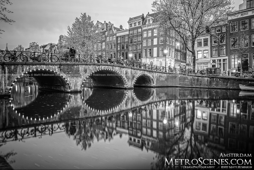 Black and White Singel Canel Bridge at night