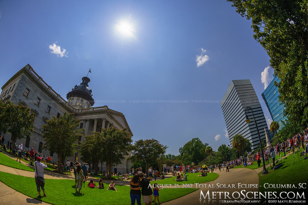 Columbia, SC Statehouse at 2:38 PM - Eclipse day