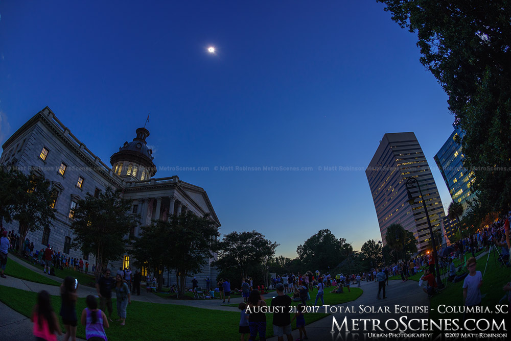 Columbia, SC Statehouse during the total eclipse 2:44 PM