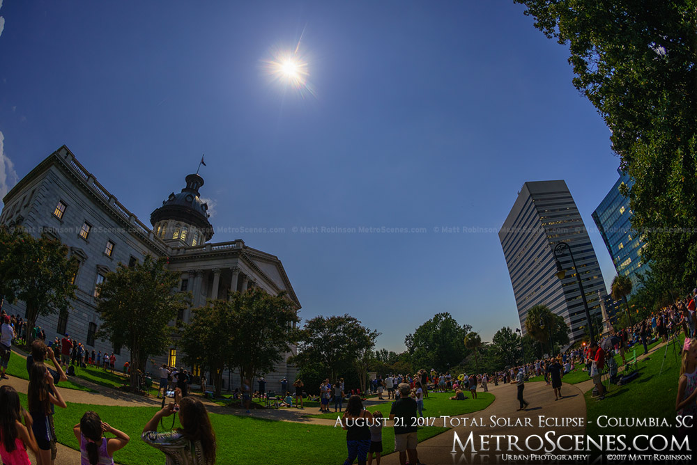 Columbia, SC Statehouse at 2:44 PM - Eclipse day