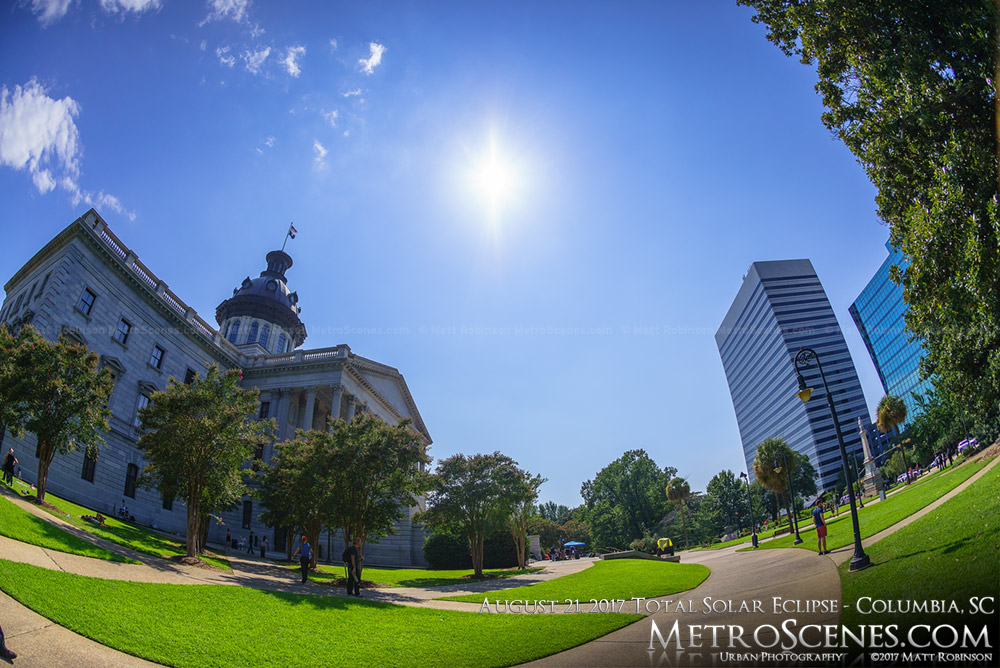 Columbia, SC Statehouse at 3:46 PM - After the total eclipse