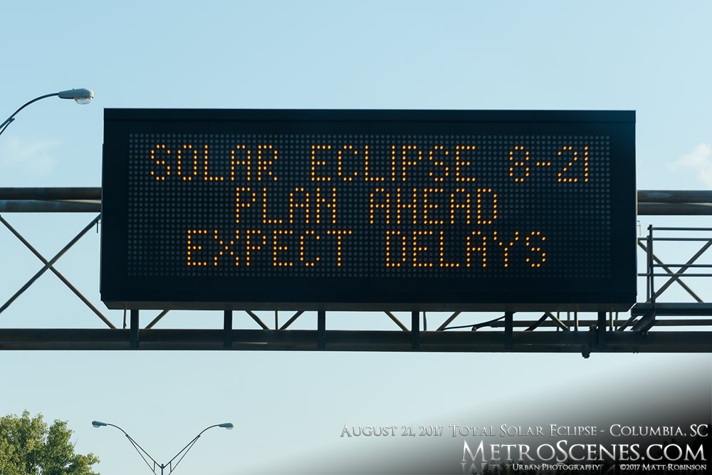 Eclipse traffic warning on Interstate 77