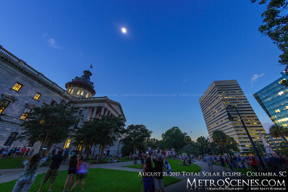 Downtown Columbia during the Total Solar Eclipse on August 21, 2017