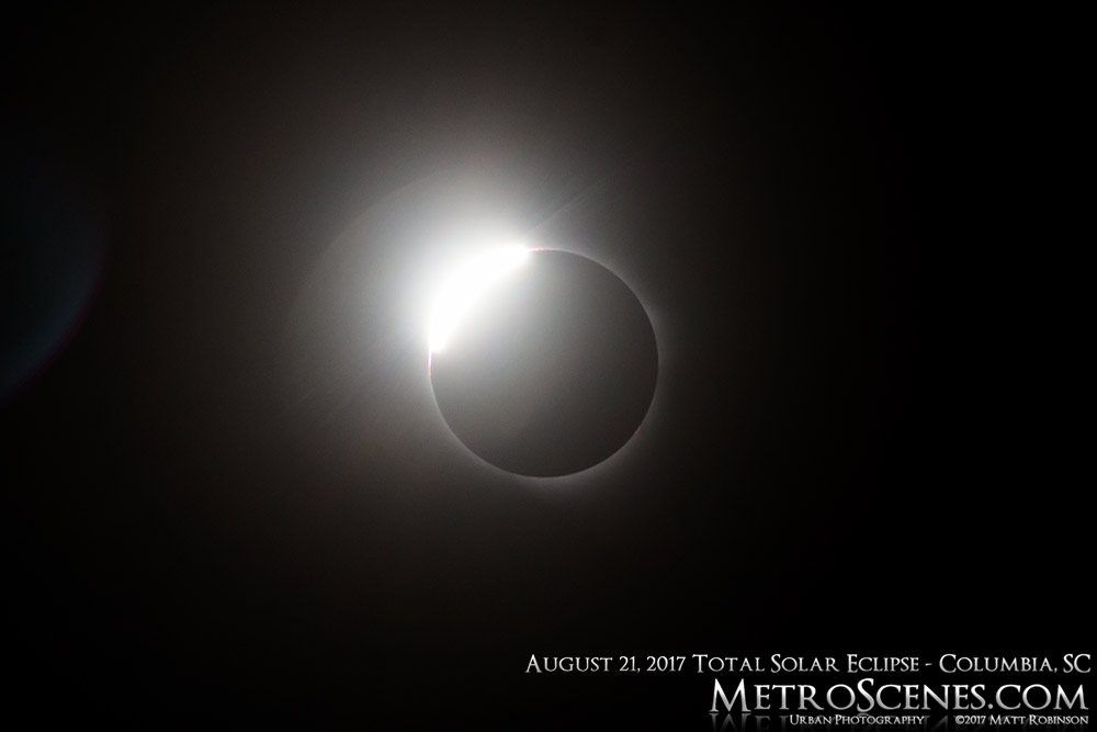 Diamond ring phase of the August 21, 2017 solar eclipse from Columbia, SC
