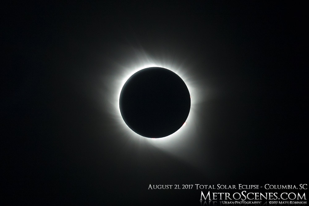 Solar corona prominences from August 21, 2017 eclipse from Columbia, SC