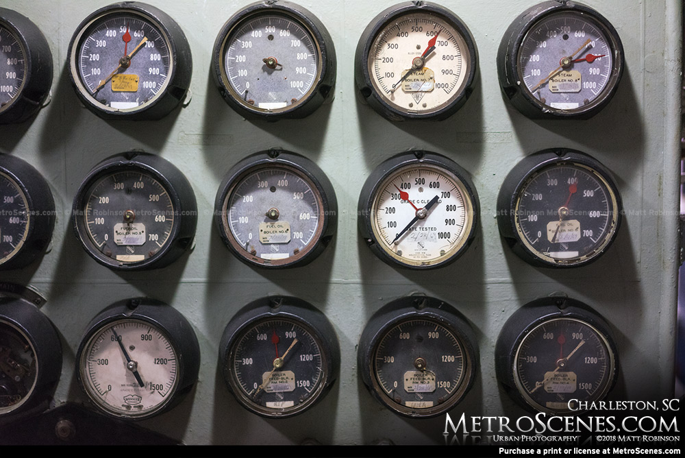 Cluster of analog gauges on the USS Yorktown in Charleston, SC