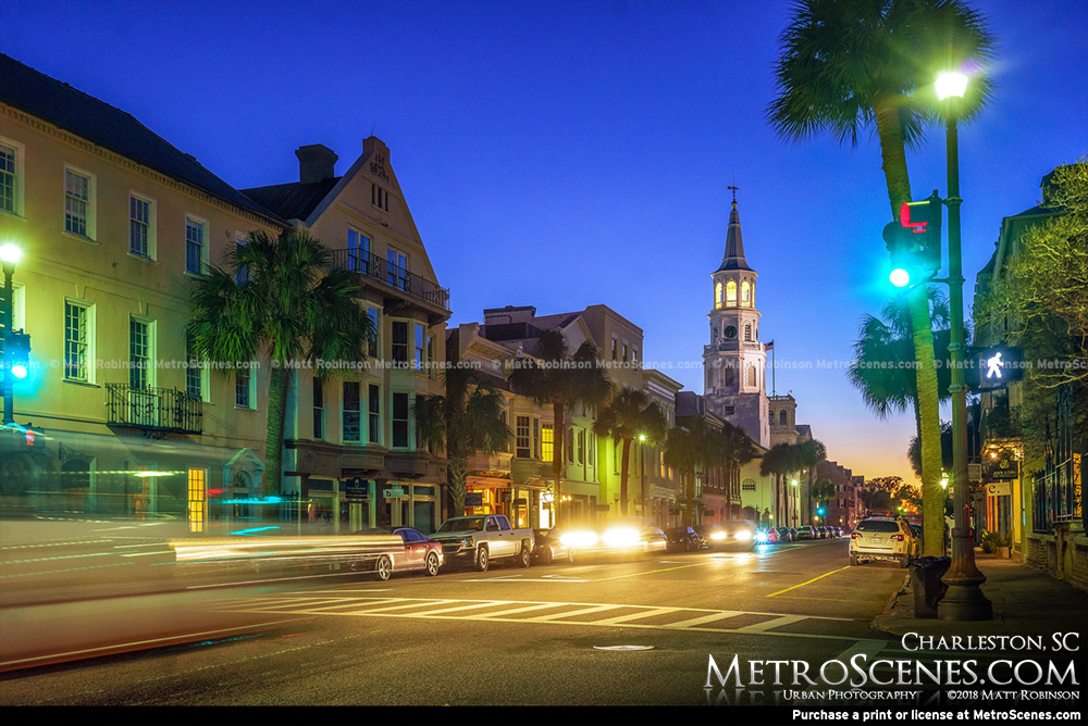 Broad Street Charleston, SC at night