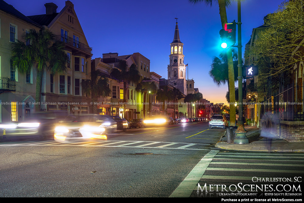 Downtown Charleston, SC at night