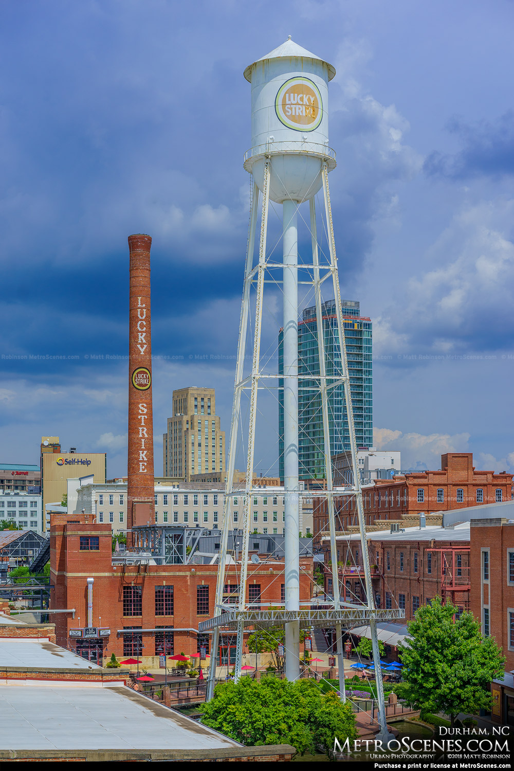 Lucky Strike Water Tower and Smokestack at the American Tobacco Campus - Durham, North Carolina