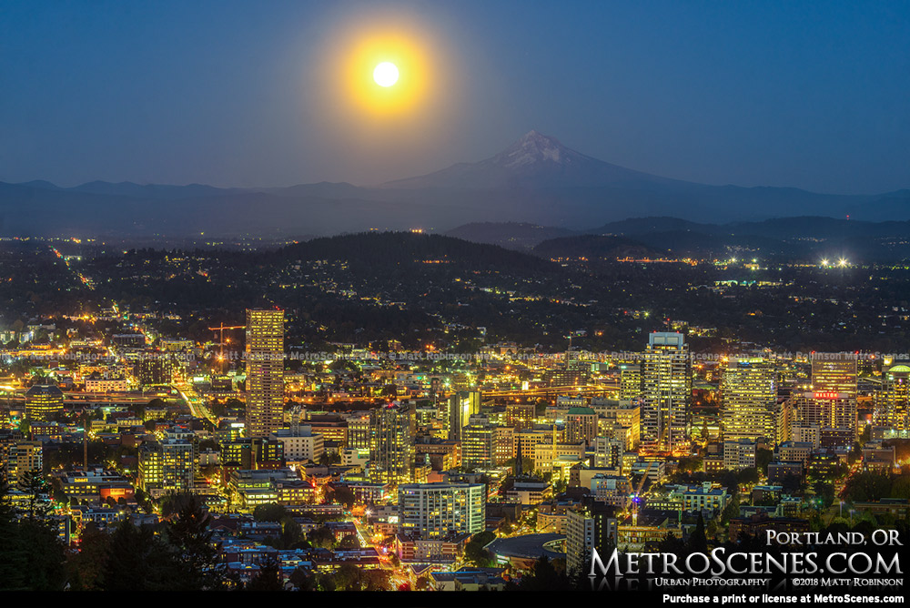 Bright full moon over Portland and Mount Hood