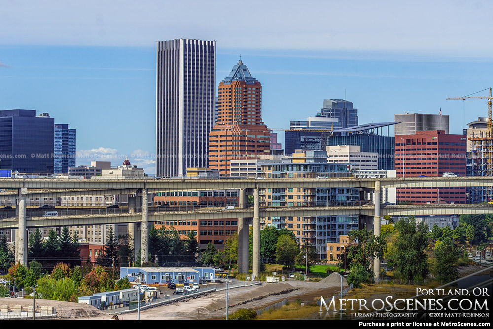 Wells Fargo Center and KOIN Center in Portland, Oregon Skyline