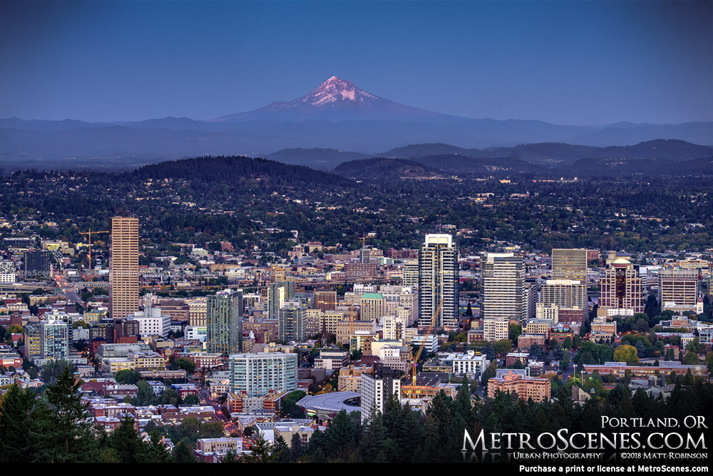 Portland Skyline at twilight with Mt. Hood