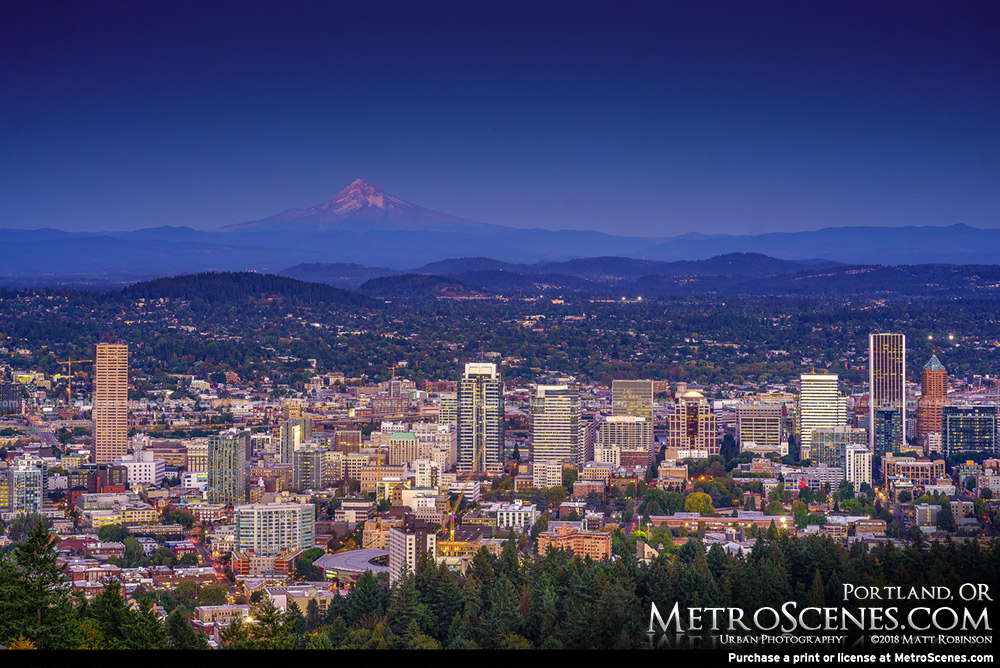 Downtown Portland Oregon at dusk