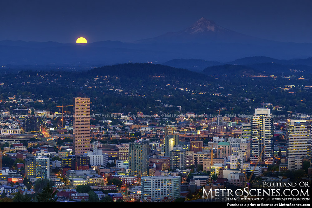 Moonrise over Portland Oregon