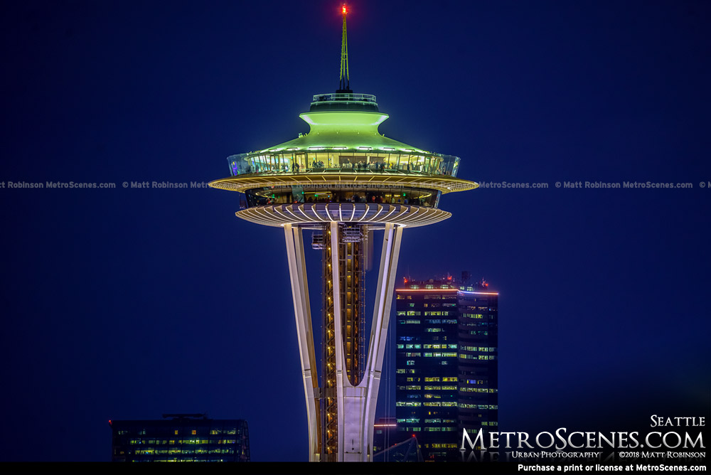 Close up of Seattle Space Needle at night