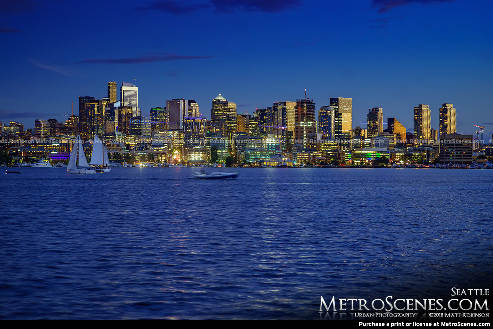 Seattle Skyline at night from Gas Works Park
