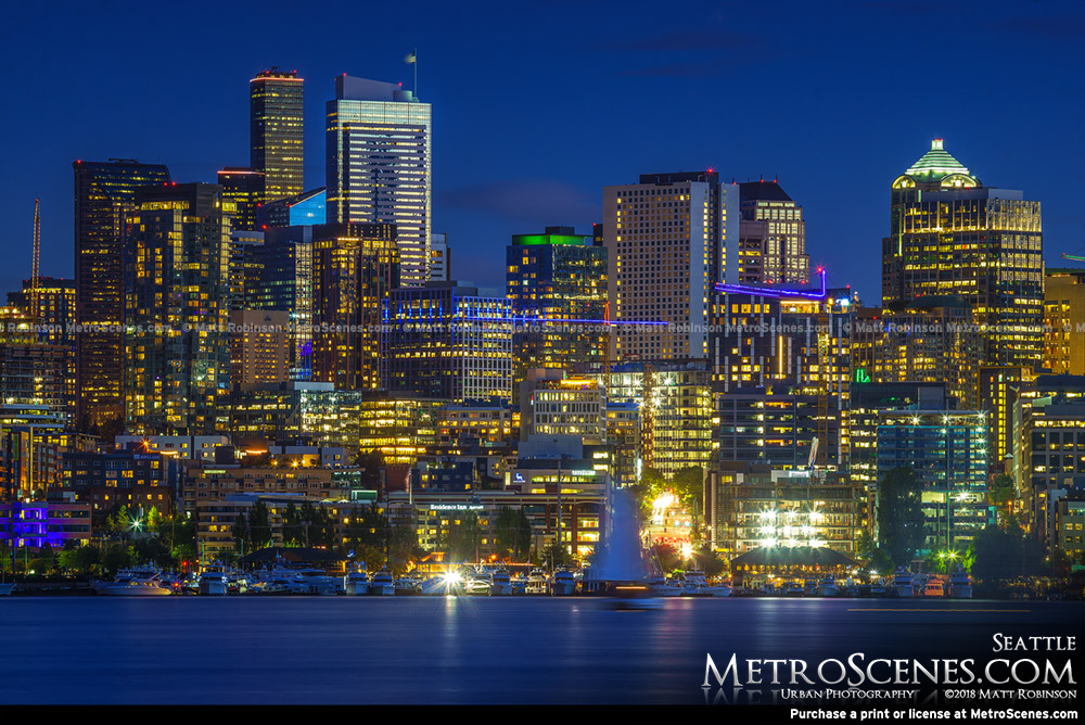 Seattle Skyscrapers at night