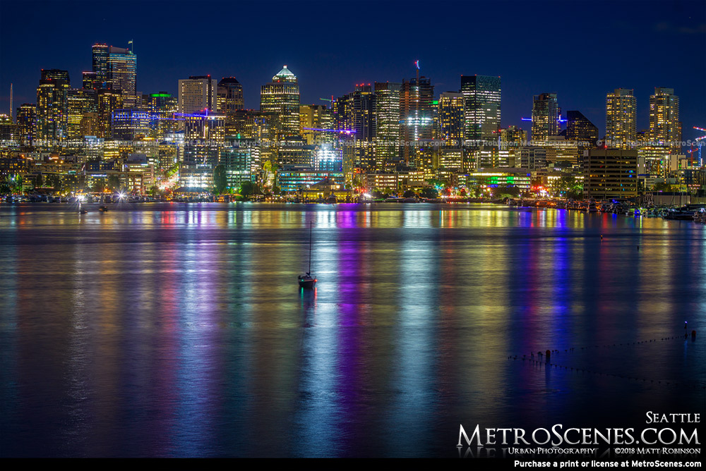 Downtown Seattle reflections in Lake Union
