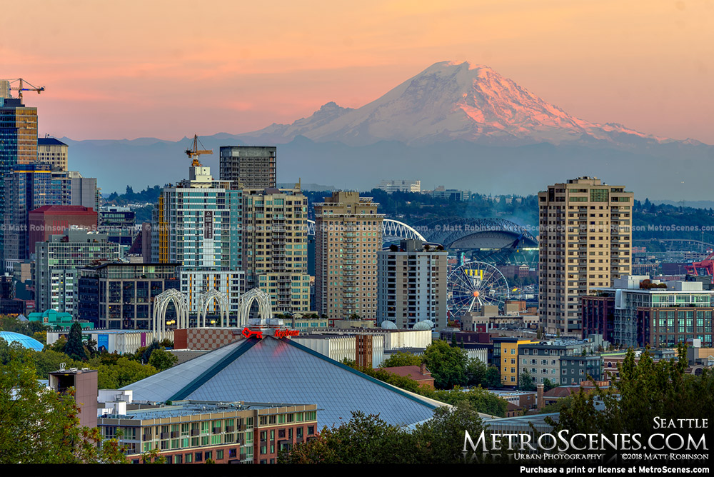 Sun setting on Mt. Rainer and downtown
