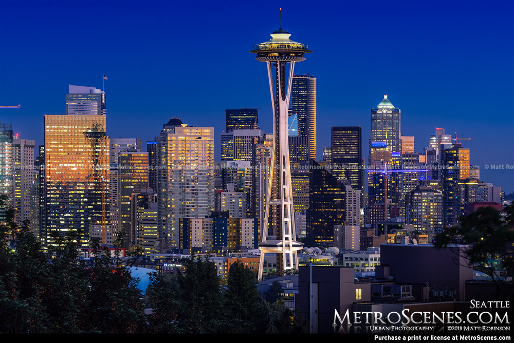 Seattle Skyline at night with the Space Needle