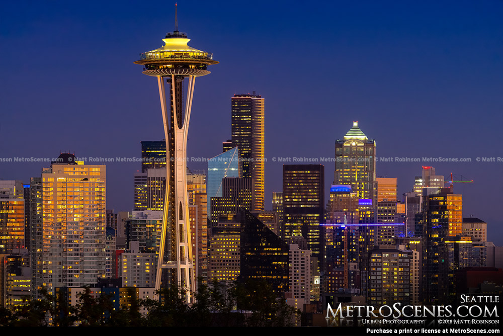 Sunset reflections on downtown Seattle and the Space Needle