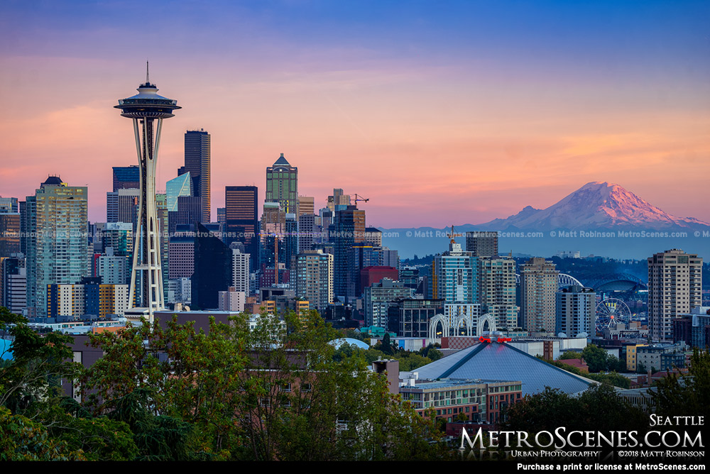 Downtown Seattle, Space Needle and Mt. Rainer from Kerry Park