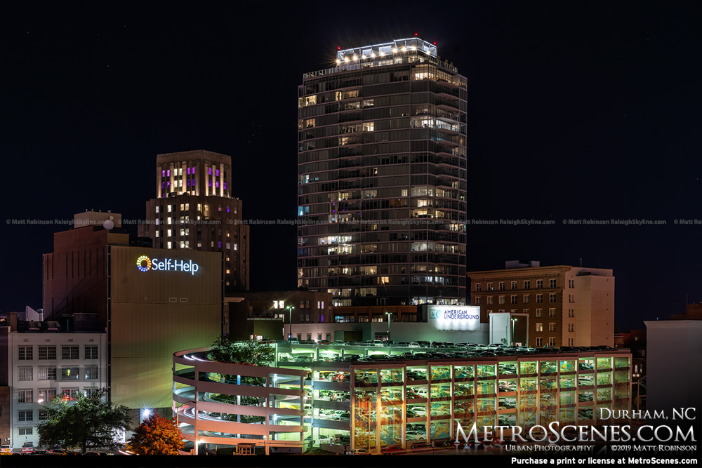 One City Center and 21c Museum Hotel Durham Skyline at night
