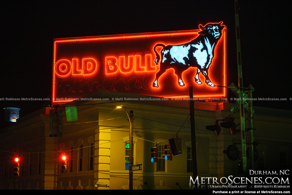 Old Bull Neon Sign in Durham