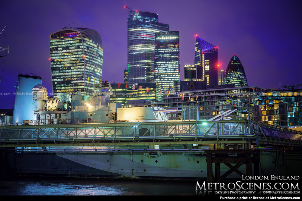 2019 City of London Skyline from the River Thames