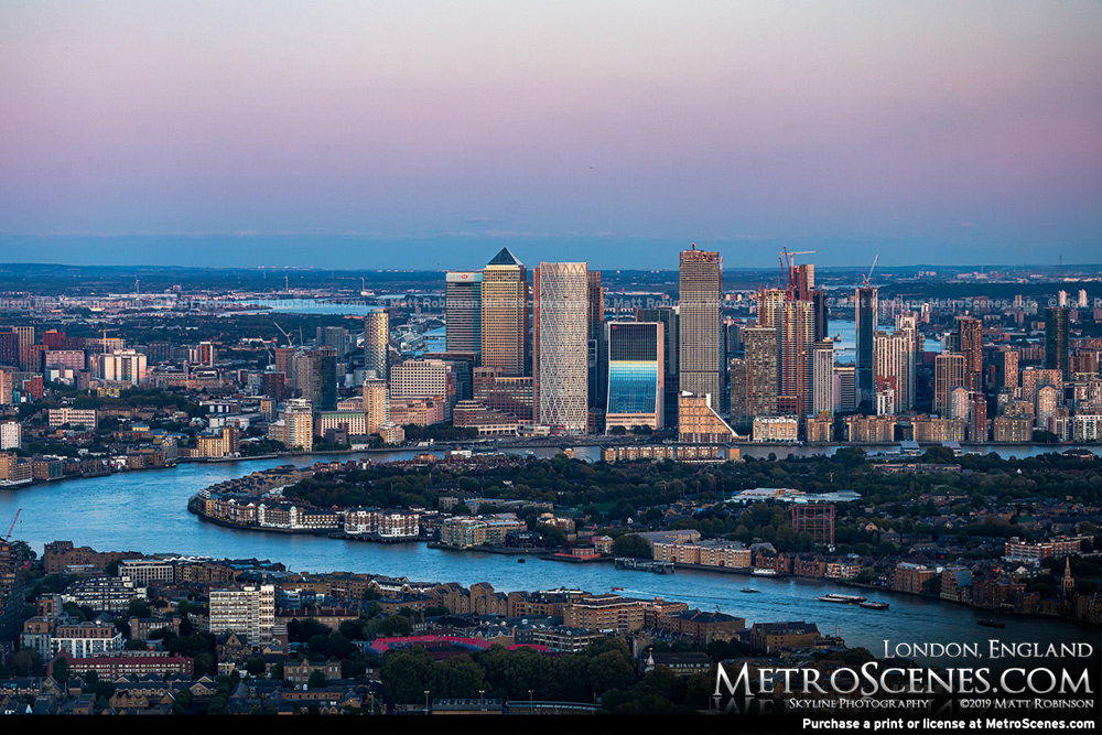 New Canary Wharf Skyline from the Shard at dusk