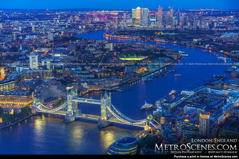 Aerial of Tower Bridge and the River Thames with Canary Wharf